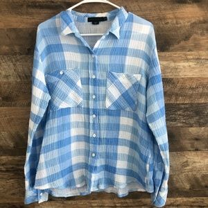 Medium Sanctuary Plaid Tomboy Waffle Shirt